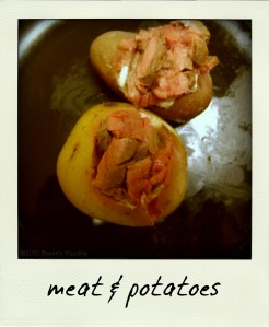 potatoes stuffed with asian flank steak & wasabi sour cream