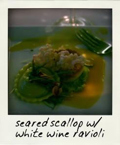 Seared Scallop with White Wine Ravioli