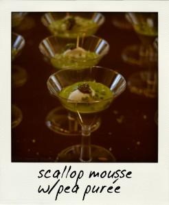 scallop mousse & pea puree